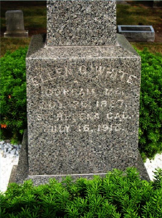 Iglica Kleopatry na grobie Jamesa i Ellen White (epitafium Ellen White)