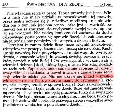 Świadectwa dla zboru. Tom I. Strona 468. Wydawnictwo Testimonex.