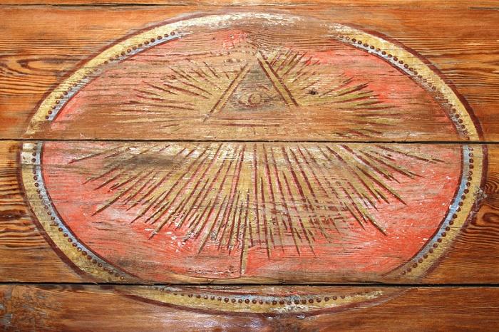 Wszystkowidzące oko w kościele z Nowosolnej przeniesionym ze skansenu architektury drewnianej w Łodzi