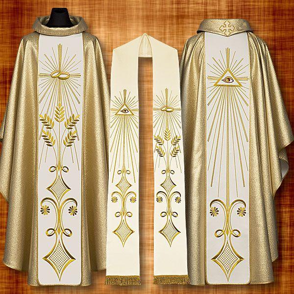 Szaty liturgiczne w kościele katolickim i wszystkowidzące oko.