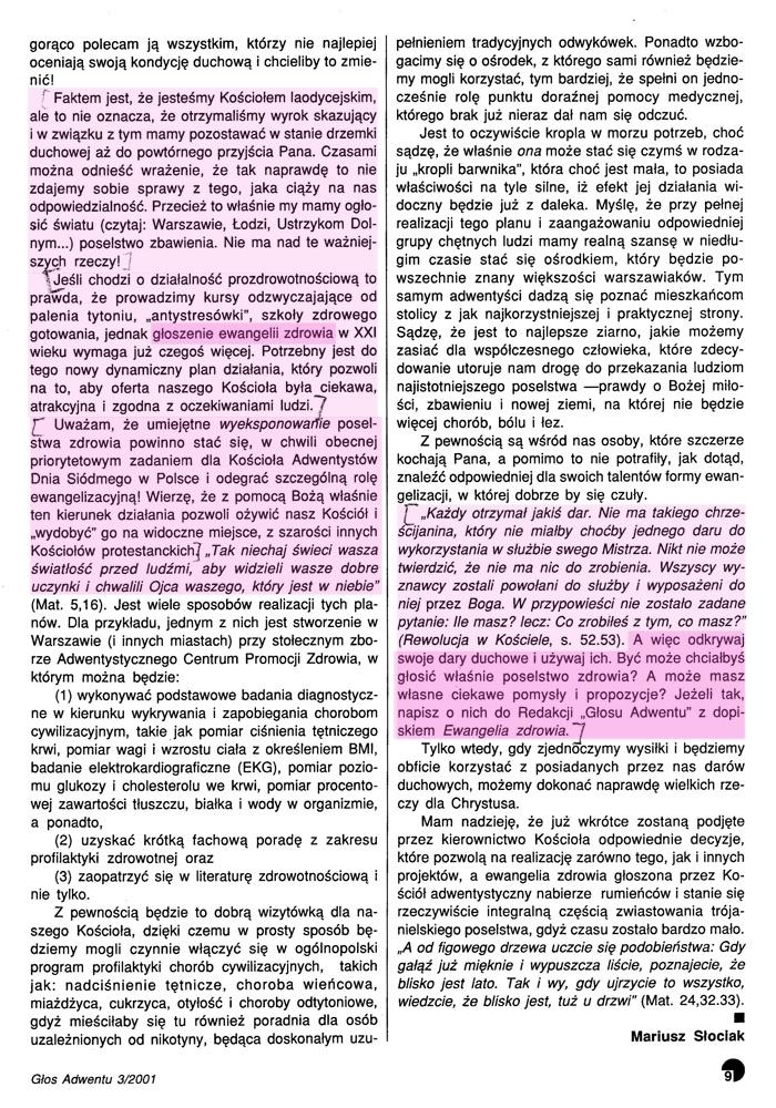 Znaki Czasu 2001 - Ewangelia Zdrowia Adwentystów Dnia Siódmego